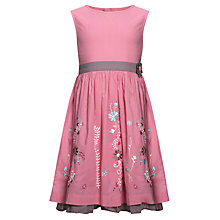 Buy John Lewis Girl Floral Border Print Dress, Pink Online at johnlewis.com