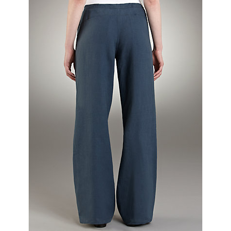 Buy Farhi by Nicole Farhi Linen Drastring Trousers, Denim Blue Online at johnlewis.com