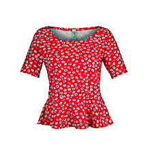 Buy People Tree Frieda Peplum Top, Hibiscus Red Online at johnlewis.com
