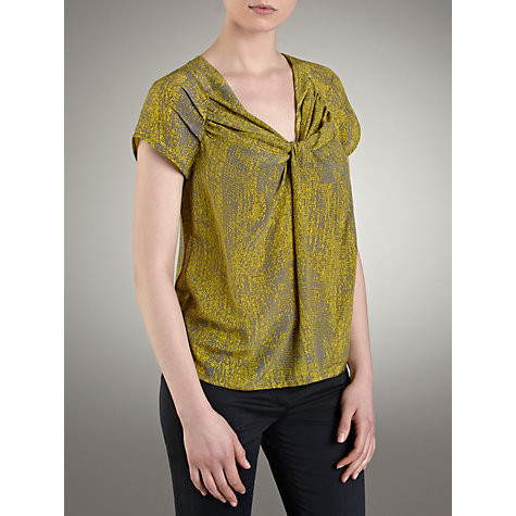 Buy Farhi by Nicole Farhi Silk Knot Front Printed Top, Zest/Grey Online at johnlewis.com