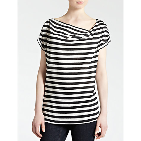 Buy Farhi by Nicole Farhi Linen Striped Cowl Neck Top Online at johnlewis.com