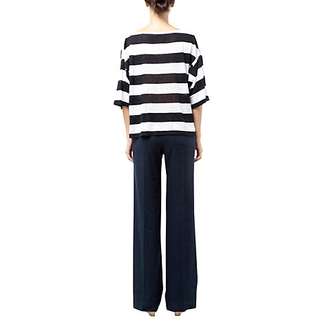 Buy Farhi by Nicole Farhi Linen Wide Stripe Top, Navy/White Online at johnlewis.com