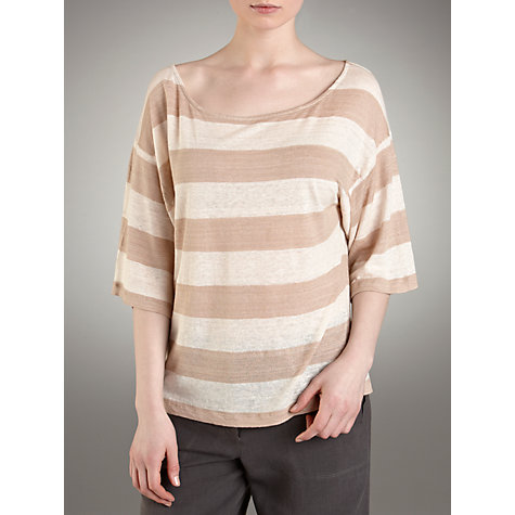 Buy Farhi by Nicole Farhi Linen Striped Jumper, Almond Online at johnlewis.com