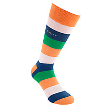 Buy Gant Block Stripe Socks, Blue/White/Green/Orange Online at johnlewis.com
