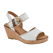 Buy Gabor Dover Leather Cork Wedge Heel Sandals, White Online at johnlewis.com