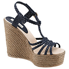 Buy Somerset by Alice Temperley Jasmine Woven Leather Wedge Sandals, Navy Online at johnlewis.com