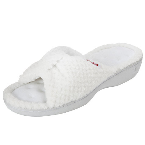 Buy Totes Popcorn Knot Open Mule Slippers, White Online at johnlewis.com