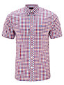 Buy Fred Perry Short Sleeve Gingham Shirt, Red/White/Blue, S Online at johnlewis.com