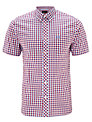 Fred Perry Short Sleeve Gingham Shirt, Red/White/Blue