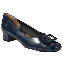 Buy John Lewis Patent Buckle Trim Block Heel Pumps, Navy Online at johnlewis.com