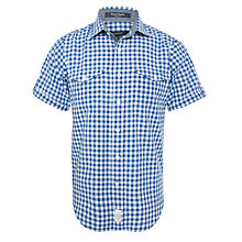 Buy Gant Gingham Checked Short Sleeved Shirt, Blue/White Online at johnlewis.com