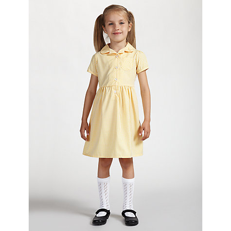 Buy John Lewis School Belted Gingham Checked Summer Dress, Yellow Online at johnlewis.com