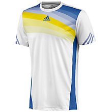 Buy Adidas Adizero Tennis T-Shirt, White/Blue/Yellow Online at johnlewis.com