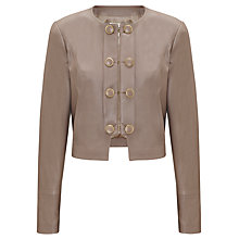 Buy Somerset by Alice Temperley Button Detail Leather Jacket, Mink Online at johnlewis.com