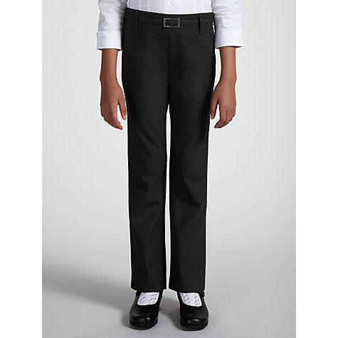 Buy John Lewis Girls' Belted School Trousers With Zip, Grey Online at johnlewis.com