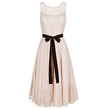 Buy Derhy Lace Beaded Ribbon Dress, Nude Online at johnlewis.com