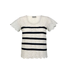 Buy Pyrus Broderie Stripe Top, Salt/Petrol Stripe Online at johnlewis.com