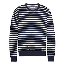 Buy Ben Sherman Stripe Long Sleeve Jumper, North Sea Blue Online at johnlewis.com