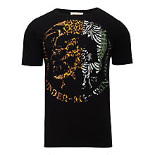 Buy Diesel Animal Print Mohican Print T-Shirt, Black Online at johnlewis.com
