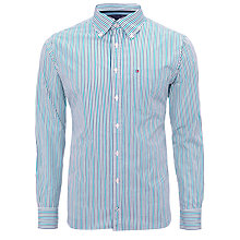 Buy Tommy Hilfiger Multi Stripe Shirt, Green/Navy Online at johnlewis.com