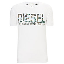 Buy Diesel Life Camouflage Logo Short Sleeve T-Shirt, White Online at johnlewis.com