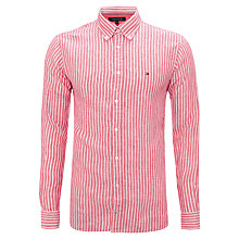 Buy Tommy Hilfiger Long Sleeve Stripe Linen Shirt, Vivacious Red Online at johnlewis.com