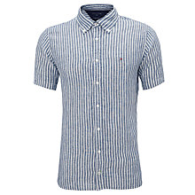 Buy Tommy Hilfiger Short Sleeve Stripe Linen Shirt, Estate Blue Online at johnlewis.com