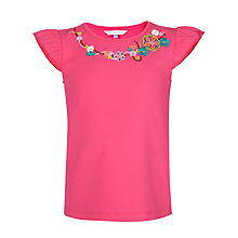 Buy John Lewis Girl Embroidered Flower T-Shirt Online at johnlewis.com