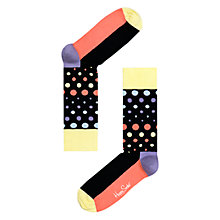 Buy Happy Socks Disco Dot Socks, Black/Multi Online at johnlewis.com