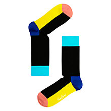 Buy Happy Socks Block Socks, Black/Multi Online at johnlewis.com