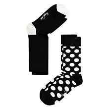 Buy Happy Socks Dot Socks, Pack of 2, Black/White Online at johnlewis.com