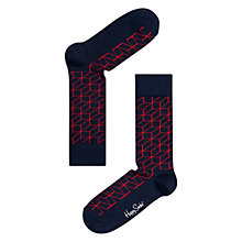 Buy Happy Socks Optic Print Socks, Navy/Red Online at johnlewis.com