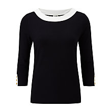 Buy Viyella Contrast Trim Top, Navy/Stone Online at johnlewis.com