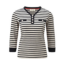 Buy Viyella Stripe Button Top, Navy/Stone Online at johnlewis.com