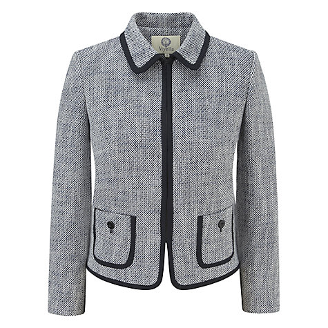 Buy Viyella Tipped Tweed Jacket, Navy/Ivory Online at johnlewis.com