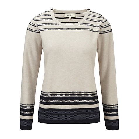 Buy Viyella Stitch Striped Jumper, Navy/Stone Online at johnlewis.com