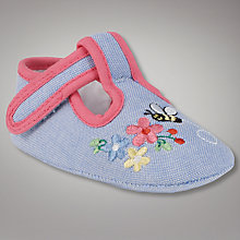 Buy John Lewis Baby Embroidered T-Bar Shoes Online at johnlewis.com