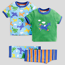Buy John Lewis Aeroplane Pyjamas, Pack of 2, Multi Online at johnlewis.com
