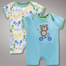 Buy John Lewis Bicycle Romper Suits, Pack of 2, Blue Online at johnlewis.com