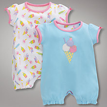 Buy John Lewis Ice Cream Romper Suits, Pack of 2, Multi Online at johnlewis.com