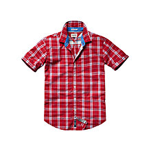 Buy Hilfiger Denim Tobert Short Sleeve Check Shirt, Tango Red Online at johnlewis.com
