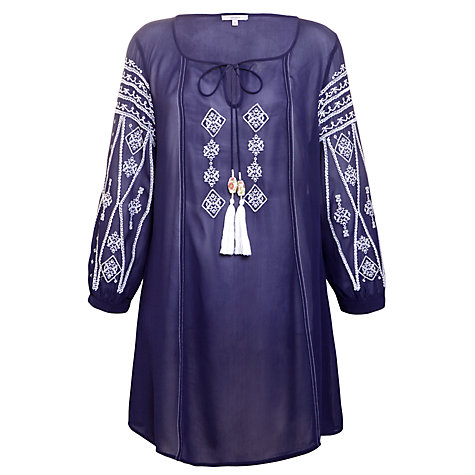 Buy John Lewis Embroidered Kaftan, Navy/White Online at johnlewis.com