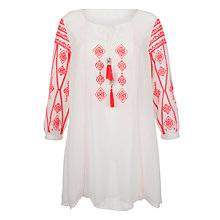 Buy John Lewis Embroidered Kaftan, White/Coral Online at johnlewis.com