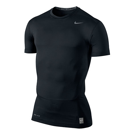Buy Nike Compression Short Sleeve Top, Black/Grey Online at johnlewis.com