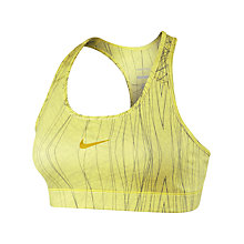 Buy Nike Printed Pro Bra, Yellow/Silver Online at johnlewis.com