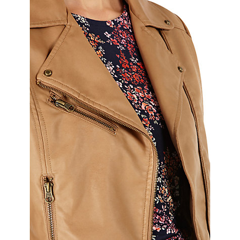 Buy Warehouse Double Buckle Faux Leather Biker Jacket, Tan Online at johnlewis.com