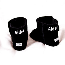 Buy My 1st Years Personalised Booties, Black Sheepskin Online at johnlewis.com