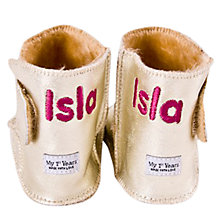 Buy My 1st Years Personalised Booties, Gold Online at johnlewis.com