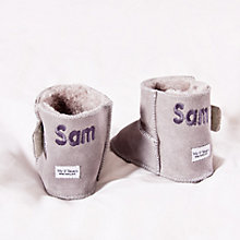 Buy My 1st Years Personalised Booties, Grey Sheepskin Online at johnlewis.com