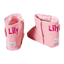 Buy My 1st Years Personalised Booties, Pink Sheepskin Online at johnlewis.com